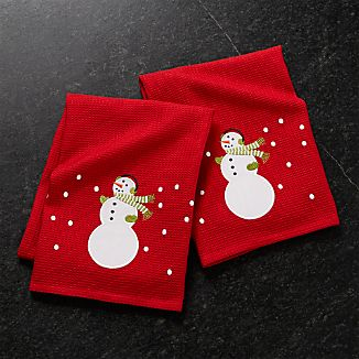Snowman Dish Towels, Set of 2