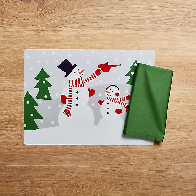 Snowman Easy Care Placemat and Fete Dark Green Cotton Napkin