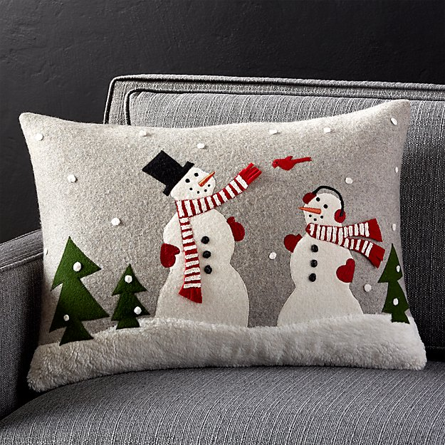"Snowman Friends 22""x15"" Pillow with Down-Alternative Insert"