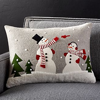 "Snowman Friends 22""x15"" Pillow with Feather-Down Insert"
