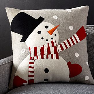"Snowman 23"" Pillow with Down-Alternative Insert"