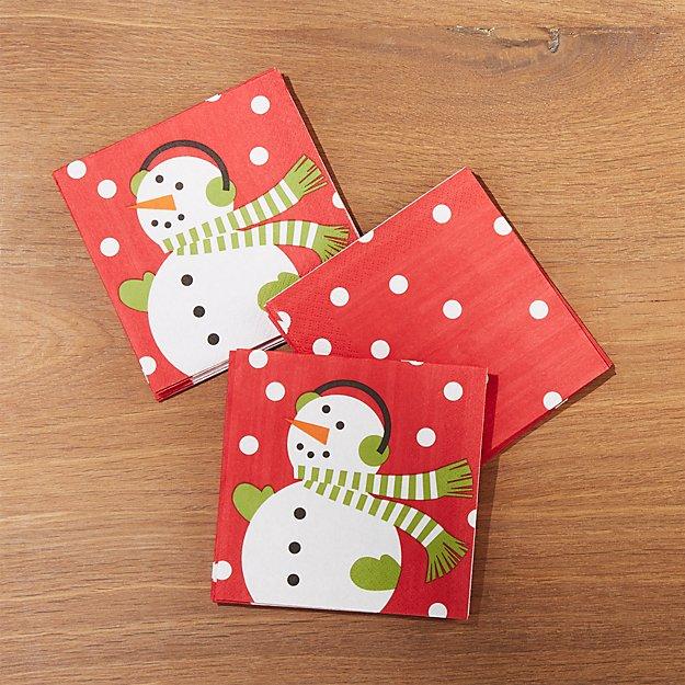 Snowman Paper Beverage Napkins, Set of 20
