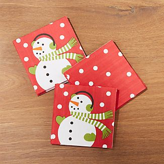 Snowman Paper Beverage Napkins, Set of 20