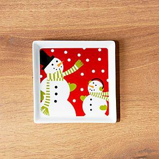Snowman Square Appetizer Plate