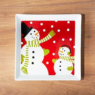 Snowman Square Platter