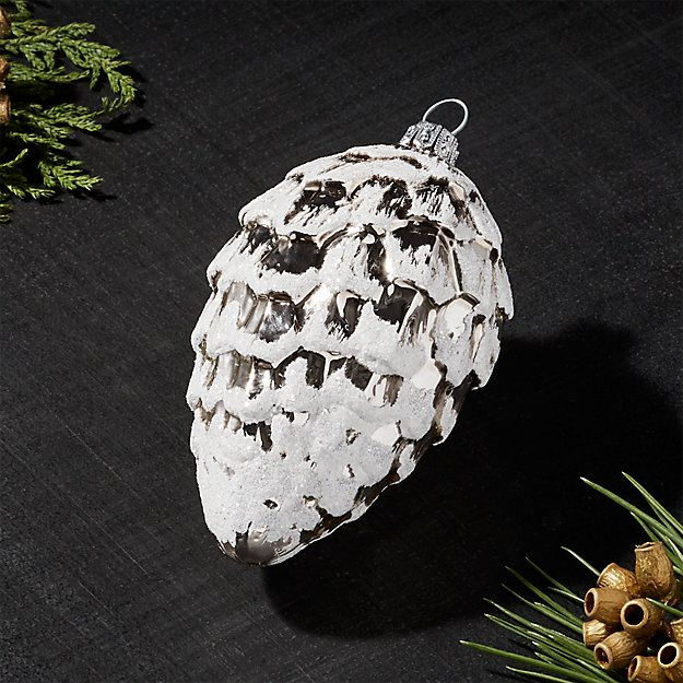 Silver Snowy Pinecone Drop Ornament