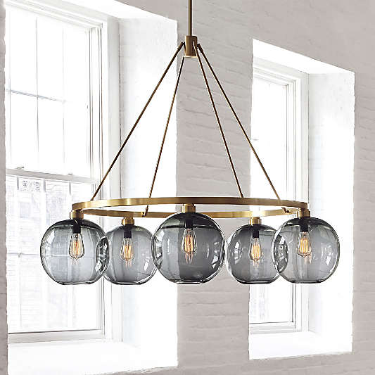 Solitaire Gray Glass and Brass Chandelier