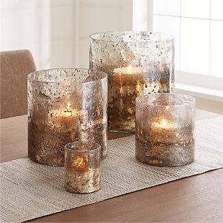 Sona Glass Hurricane Candle Holders