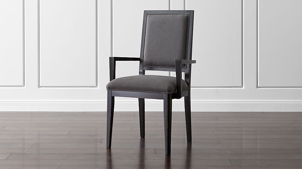 Dining Arm Chairs Black sonata bruno black dining arm chair | crate and barrel