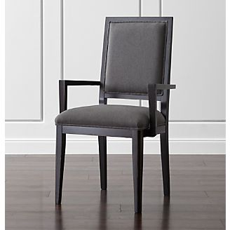 Dining room chairs and kitchen chairs crate and barrel for Black dining chairs with arms