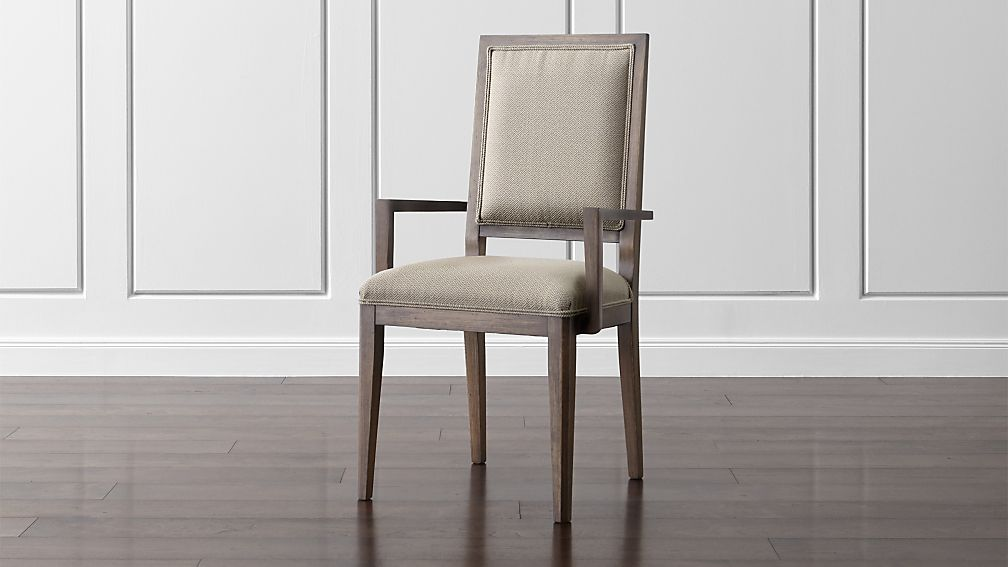 Sonata Pinot Lancaster Grey Dining Arm Chair Crate And Barrel