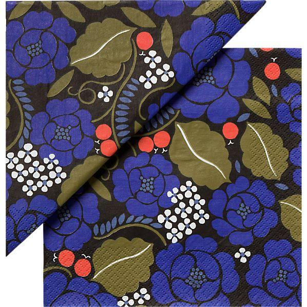 "Set of 20 Marimekko Sonja Blue Paper 6.5"" Napkins"