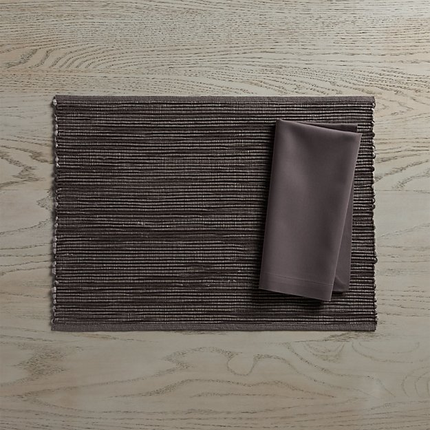 Sonoma Grey Placemat and Fete Pewter Cloth Napkin