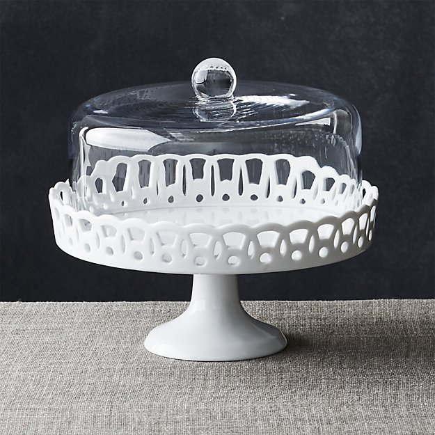 White Milk Glass Cake Stand With Dome