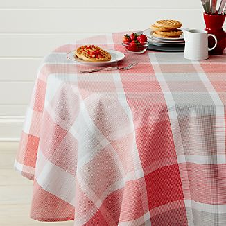 "Sorbet Plaid 60"" Round Tablecloth"