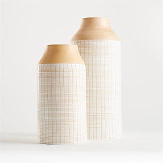 Soto White Wood Vases