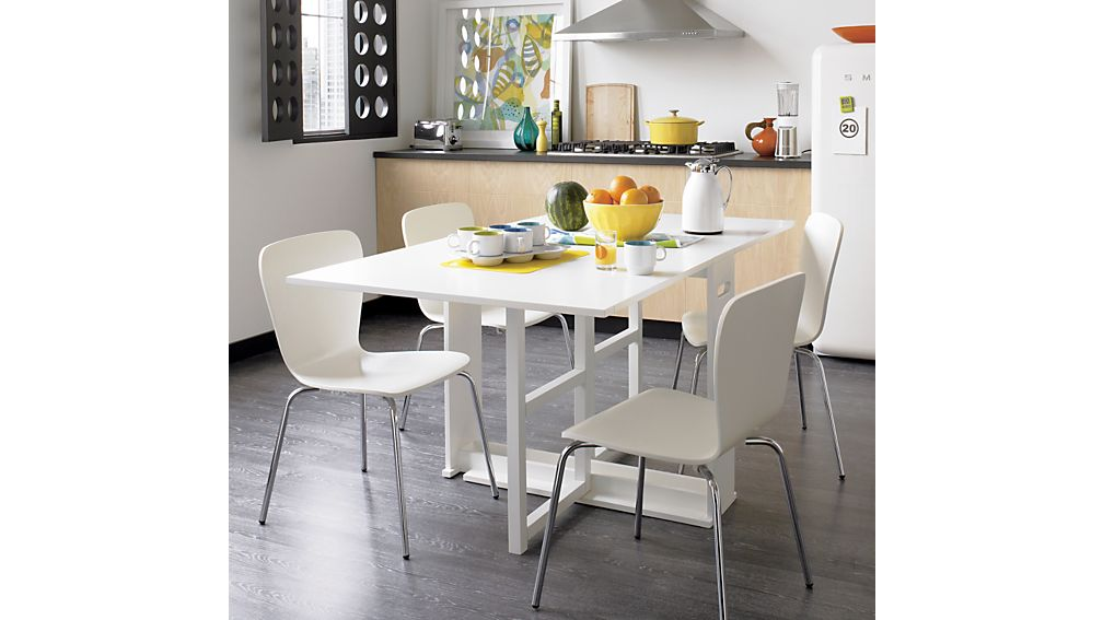 span white gateleg dining table | crate and barrel