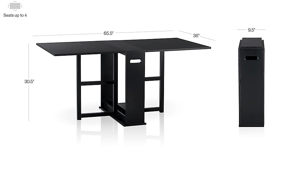 Span Black Gateleg Dining Table Crate And Barrel