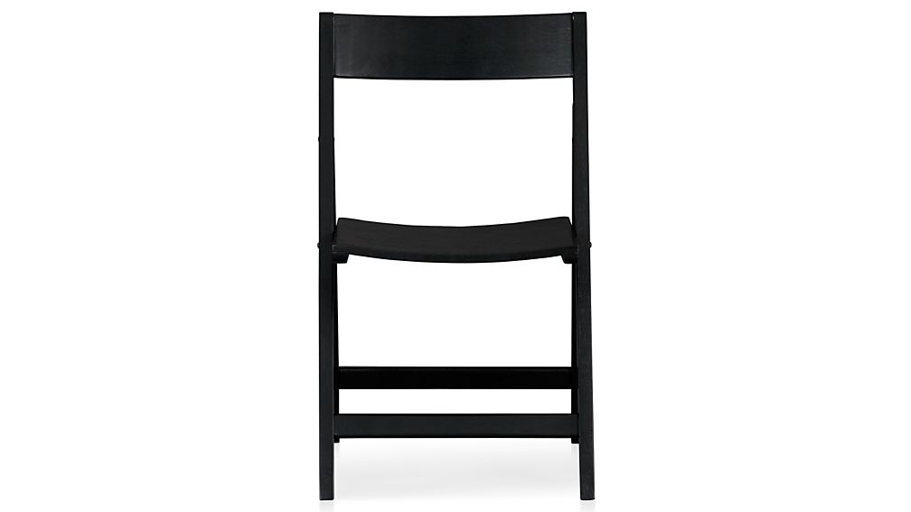 Black Wood Dining Chair spare black folding wood dining chair | crate and barrel