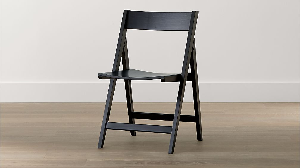 Spare Black Folding Wood Dining Chair Crate and Barrel