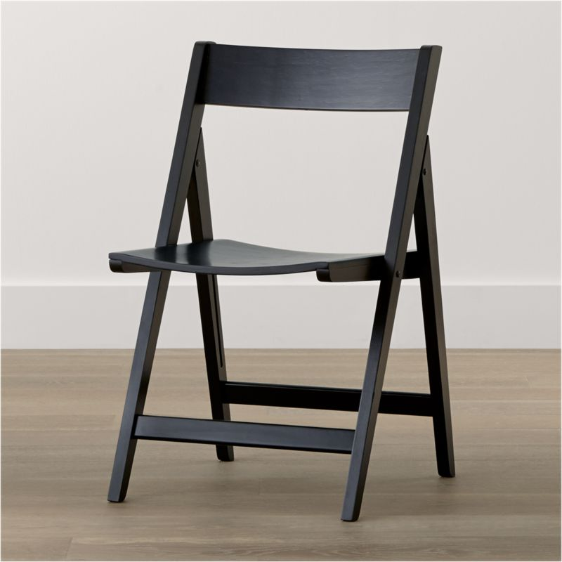 Crate And Barrel Dining Chairs: Spare Black Folding Wood Dining Chair