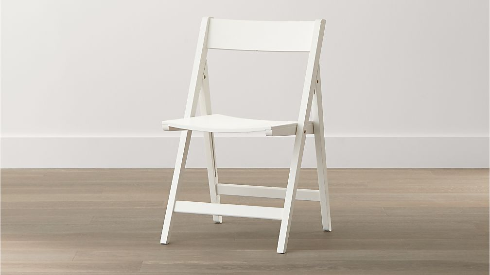 Spare White Folding Wood Dining Chair Crate and Barrel