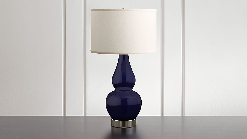 Spectrum Table Lamp with Double Gourd Ceramic and Metal Base - Image 1 of 7