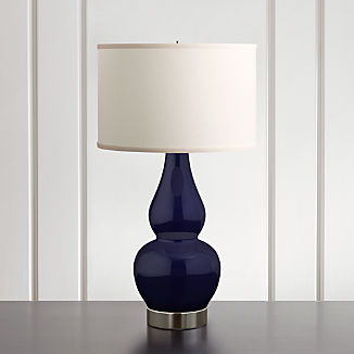 Spectrum Table Lamp with Double Gourd Ceramic and Metal Base