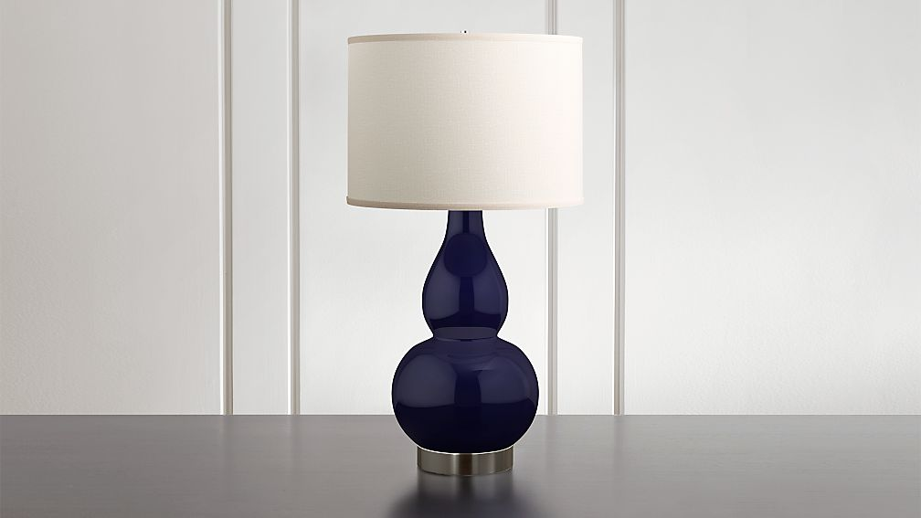 Spectrum Large Table Lamp with Double Gourd Ceramic and Metal Base - Image 1 of 6