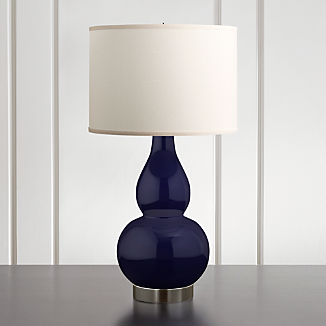 Spectrum Large Table Lamp with Double Gourd Ceramic and Metal Base