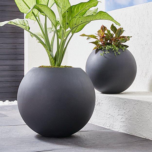 Sphere Dark Gray Planters Crate And Barrel