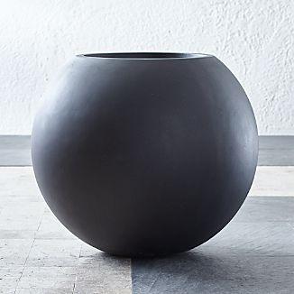 Large Planters | Crate and Barrel on grey pendant lights, grey lanterns, grey kitchen decor, grey cushions, grey walls, grey trellis, grey christmas decorations, grey marble flooring,