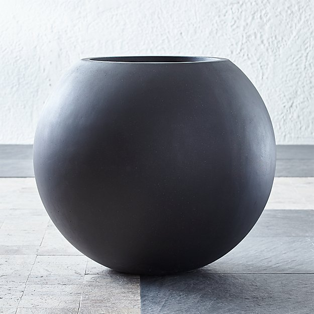 Sphere Large Dark Grey Planter Reviews Crate And Barrel