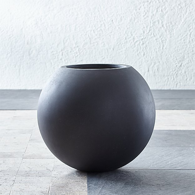 Sphere Small Dark Grey Planter - Image 1 of 6