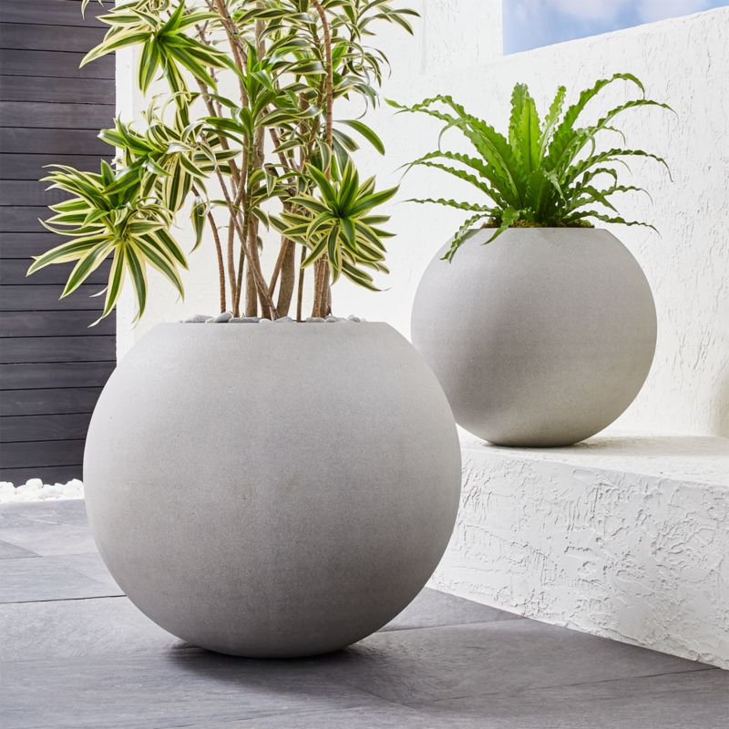 Sphere Light Gray Planters Crate And Barrel