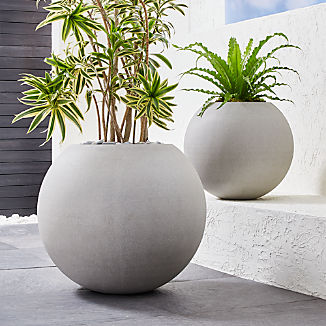 Sphere Light Gray Planters