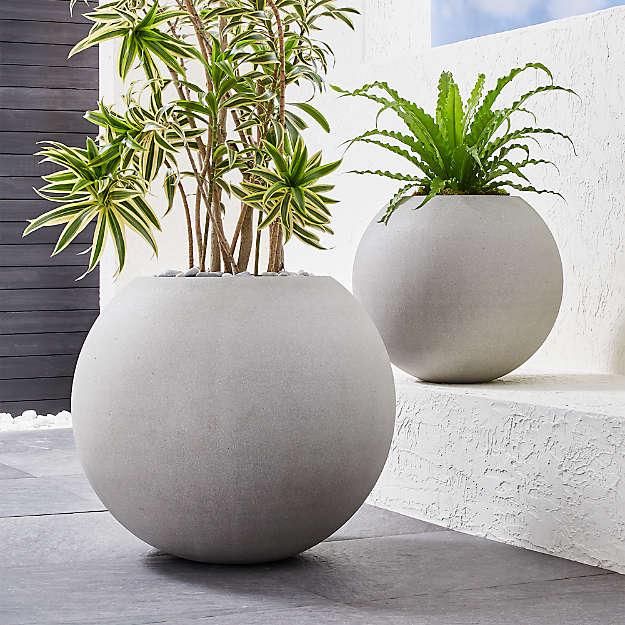 Sphere Light Gray Planters - Image 1 of 8