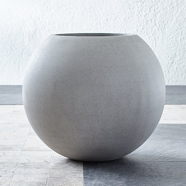 Sphere Large Light Grey Planter Reviews Crate And Barrel