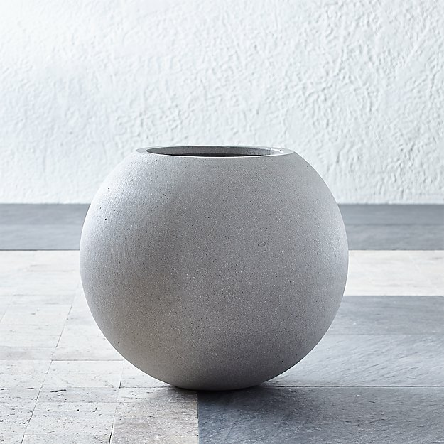 Sphere Small Light Grey Planter - Image 1 of 8