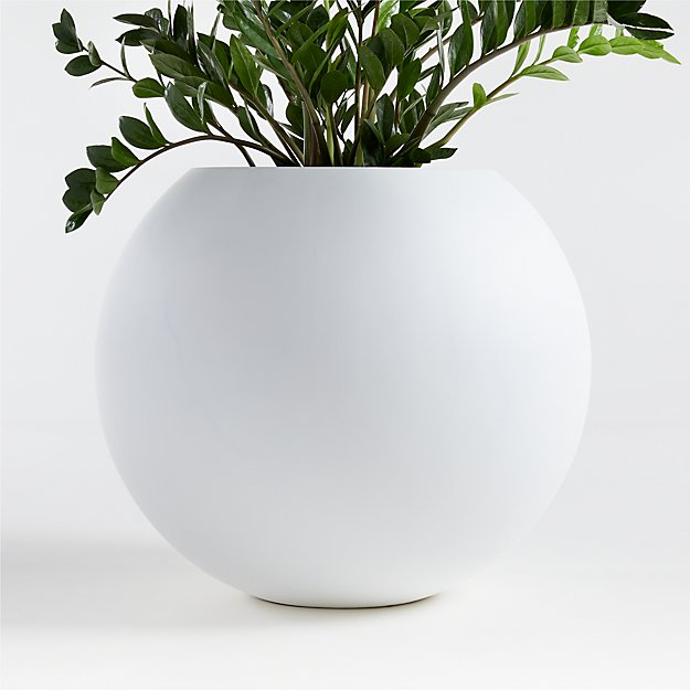 Sphere Large White Planter - Image 1 of 2