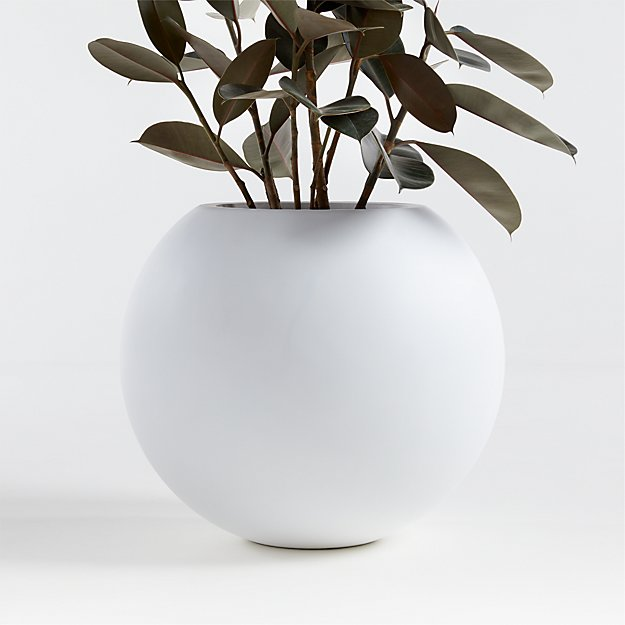 Sphere Small White Planter - Image 1 of 2