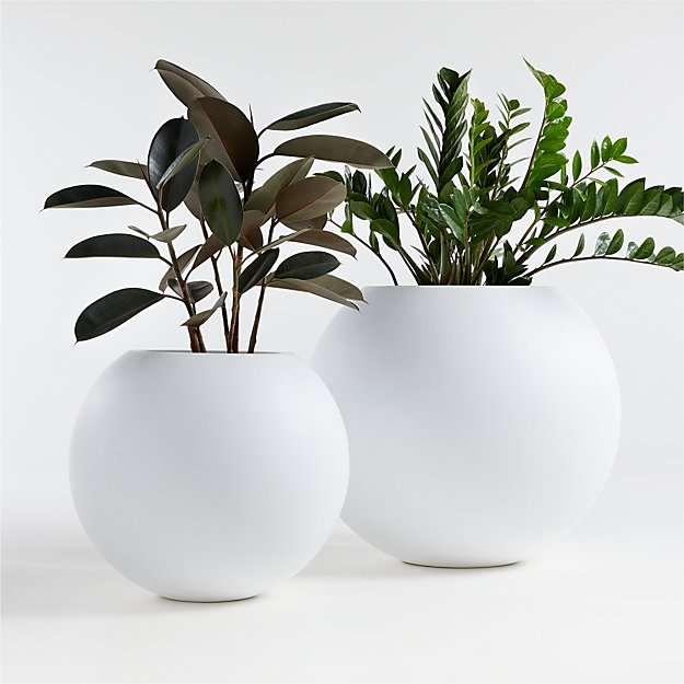 Sphere White Planters - Image 1 of 2