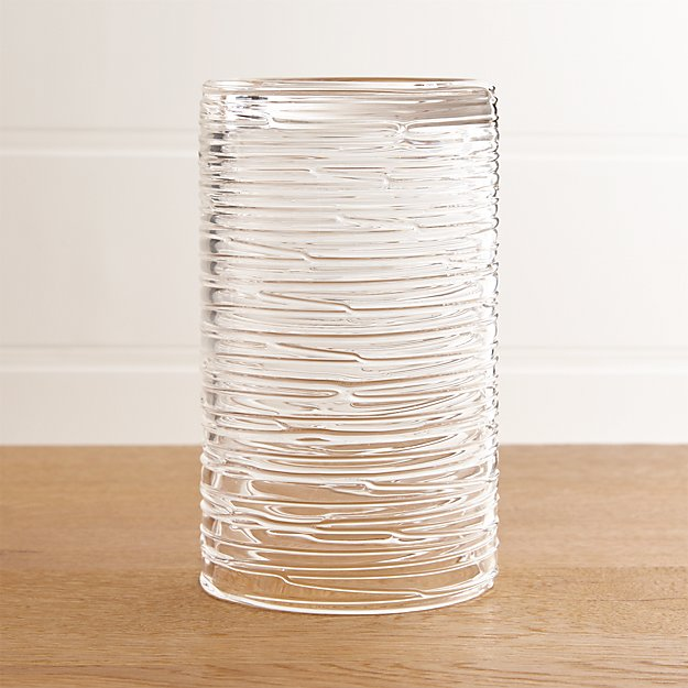 Spin Large Glass Pillar Candle Holder | Crate and Barrel