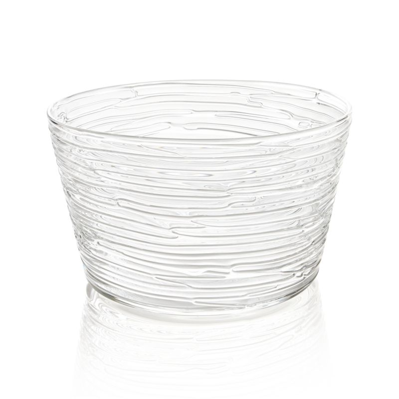Handcrafted, spun-glass serving bowl glistens with a lively organic texture that puts a special spin on salads, desserts or centerpieces.<br /><br /><NEWTAG/><ul><li>Handcrafted</li><li>Glass</li><li>Hand wash</li><li>Made in Thailand</li></ul>