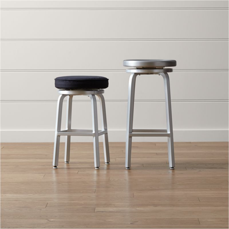 & Spin Swivel Backless Bar Stools and Cushion | Crate and Barrel islam-shia.org
