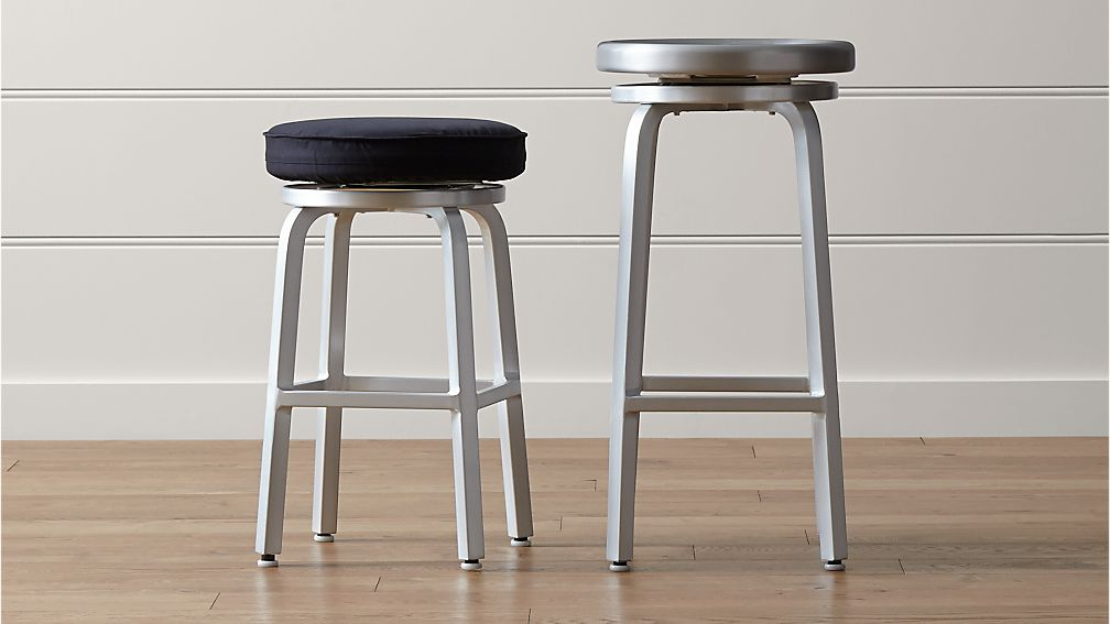 Cb2 Free Shipping >> Spin Swivel Backless Bar Stools and Cushion | Crate and Barrel