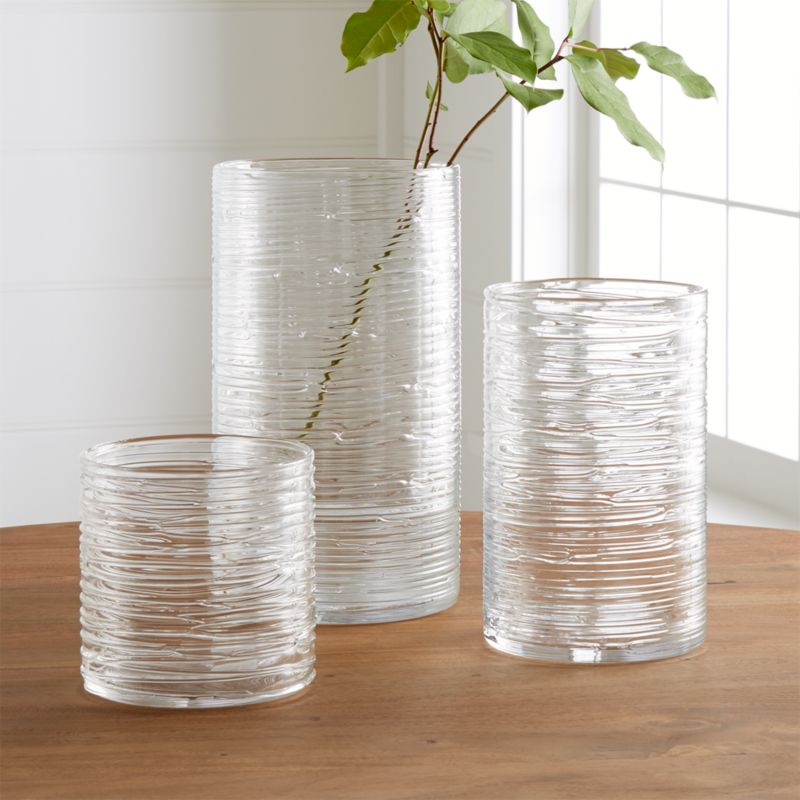 Spin Glass Hurricane Vasescandle Holders Crate And Barrel