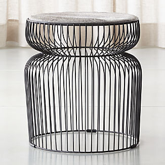 Spoke Hair On Hide Graphite Metal End Table