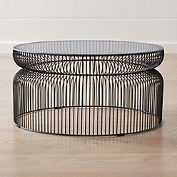 Spoke Glass Graphite Metal End Table Reviews Crate And