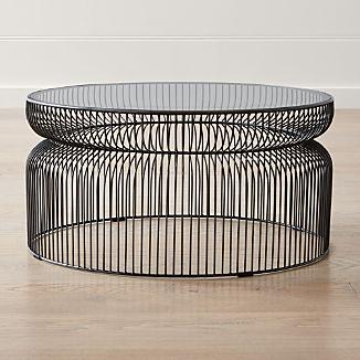 Spoke Glass Graphite Metal Coffee Table
